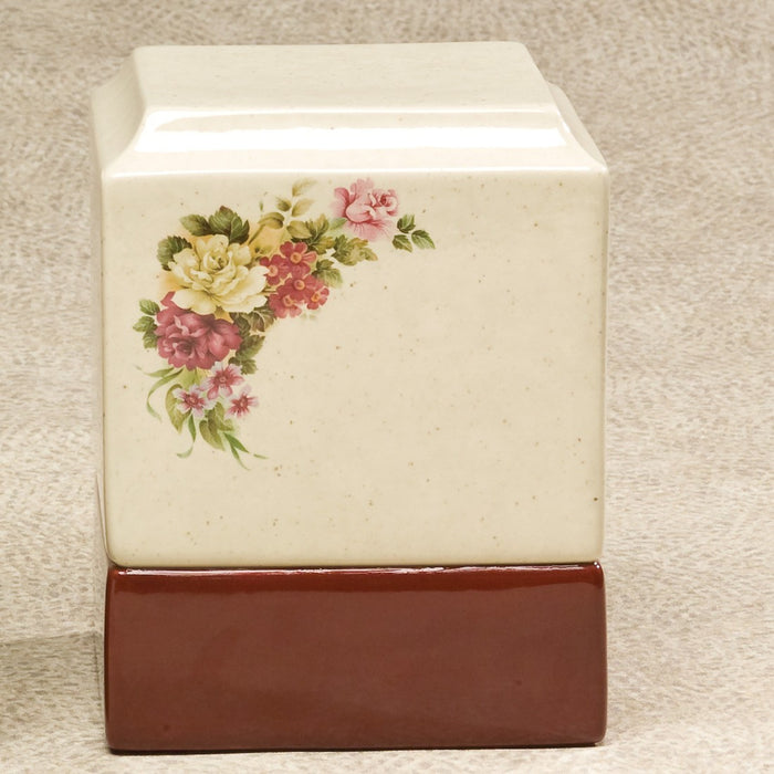 Cynthia Floral Neutral Monochrome Glaze Ceramic 215 cu in Cremation Urn-Cremation Urns-Infinity Urns-Afterlife Essentials