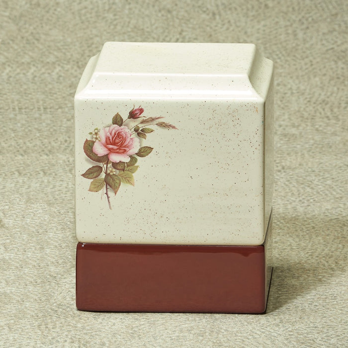 Cynthia Pink Rose Neutral Monochrome Glaze Ceramic 215 cu in Cremation Urn-Cremation Urns-Infinity Urns-Afterlife Essentials