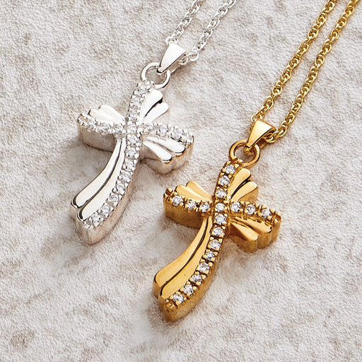 Quartz Cross Pendant Cremation Jewelry-Jewelry-Infinity Urns-Afterlife Essentials