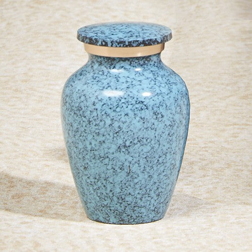 Earthtone Blue Keepsake 5 cu Brass Cremation Urn