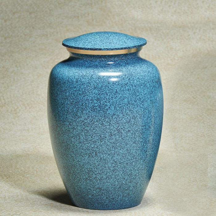 Earthtones Blue Granite Brass Small 45 cu in Cremation Urn-Cremation Urns-Infinity Urns-Afterlife Essentials