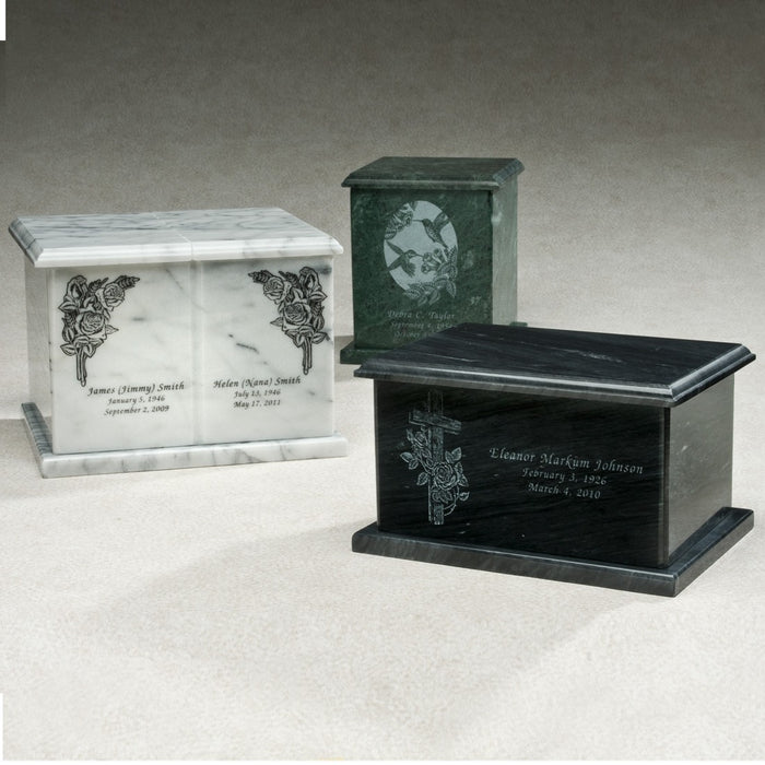 Rectangle Evermore Green Marble 420 cu in Cremation Urn-Cremation Urns-Infinity Urns-Afterlife Essentials