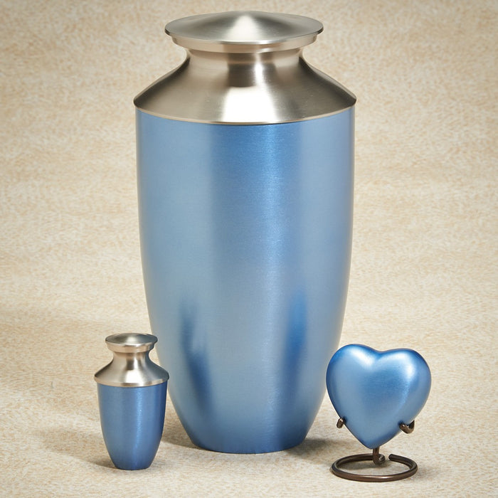 Fall Meadows Series Cornflower Blue Brass 200 cu in Cremation Urn-Cremation Urns-Infinity Urns-Afterlife Essentials