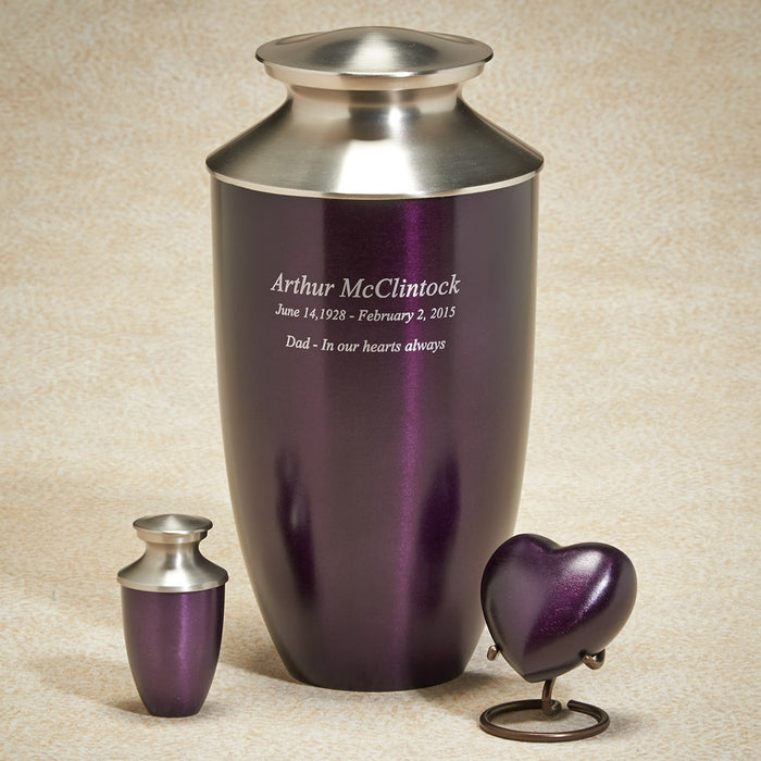 Fall Meadows Series Royal Orchid Heart Brass 3 cu in Cremation Urn-Cremation Urns-Infinity Urns-Afterlife Essentials