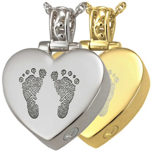 Heart Filigree Bail 2 Footprints Fingerprint Pendant Cremation Jewelry-Jewelry-New Memorials-Afterlife Essentials