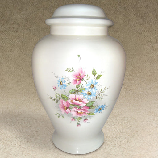 Floral Bouquet Pink And Blue Petals Ceramic 260 cu in Cremation Urn-Cremation Urns-Infinity Urns-Afterlife Essentials