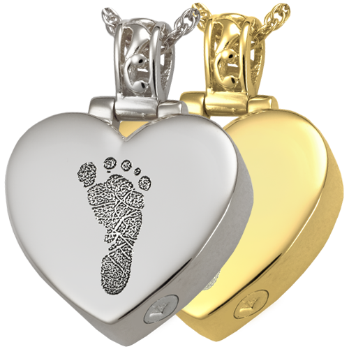 Heart Filigree Bail 1 Footprint Pendant Cremation Jewelry-Jewelry-New Memorials-Afterlife Essentials