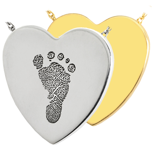 Heart Footprint Pendant Cremation Jewelry-Jewelry-New Memorials-Afterlife Essentials