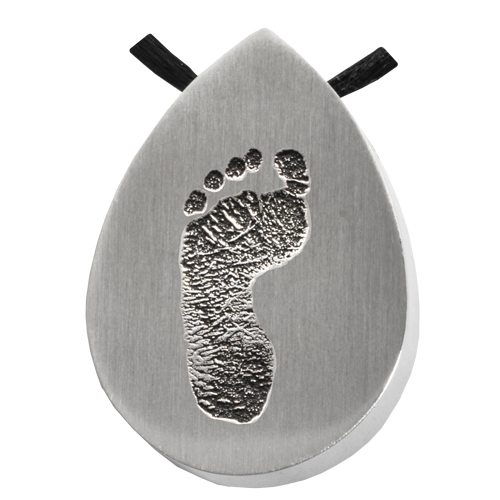 Teardrop Footprint Pendant Cremation Jewelry-Jewelry-New Memorials-Stainless Steel-No Chamber (flat)-Afterlife Essentials