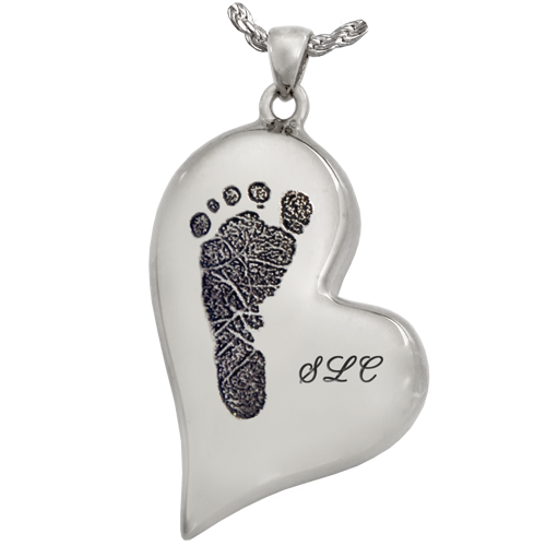 B&B Teardrop Heart Footprint with Name Jewelry-Jewelry-New Memorials-Afterlife Essentials