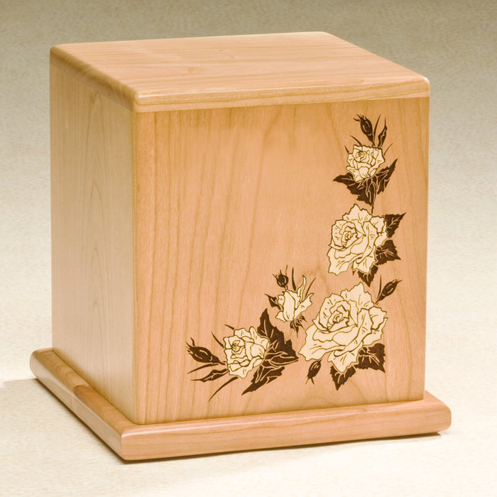 Forever Roses Natural Cherry Wood 210 cu in Cremation Urn-Cremation Urns-Infinity Urns-Afterlife Essentials