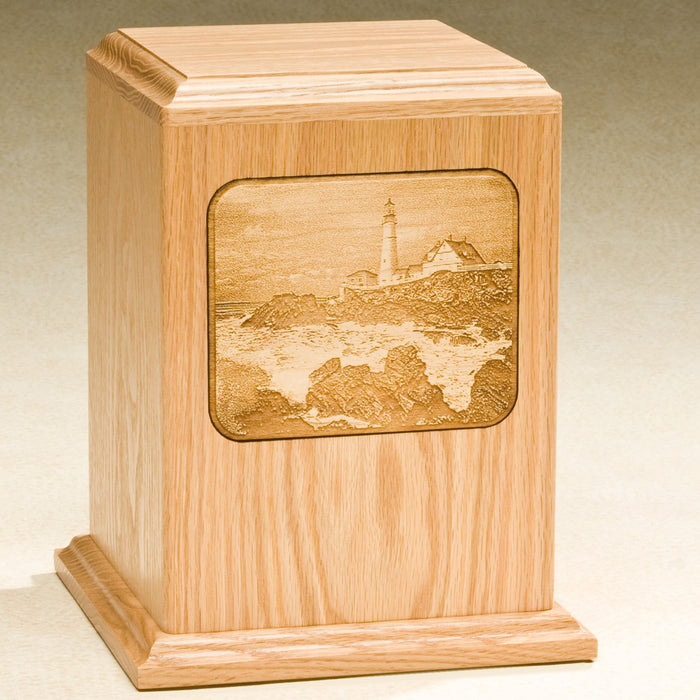 Grayscale Series with Lighthouse Design Solid Oak Wood 230 cu in Cremation Urn-Cremation Urns-Infinity Urns-Afterlife Essentials