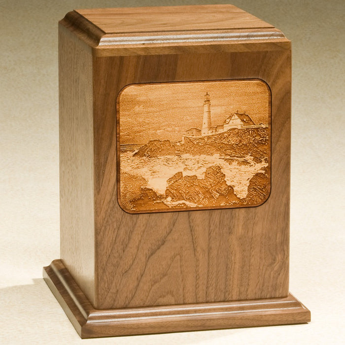Grayscale Series Solid Walnut Wood 230 cu in Cremation Urn-Cremation Urns-Infinity Urns-Afterlife Essentials