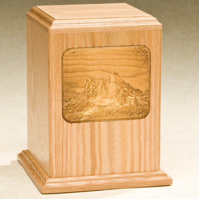 Grayscale Series with Mountain Design Solid Oak Wood 230 cu in Cremation Urn-Cremation Urns-Infinity Urns-Afterlife Essentials