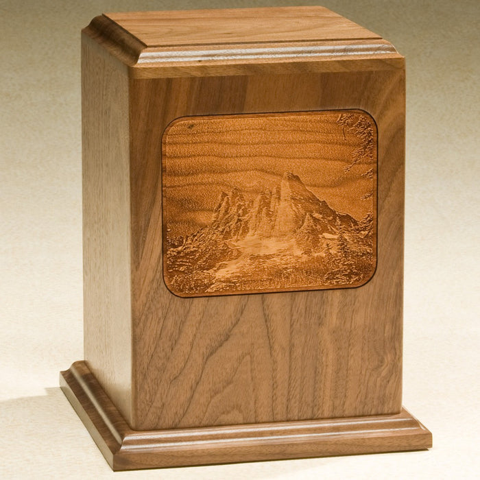 Grayscale Series with Mountains Design Solid Walnut Wood 230 cu in Cremation Urn-Cremation Urns-Infinity Urns-Afterlife Essentials