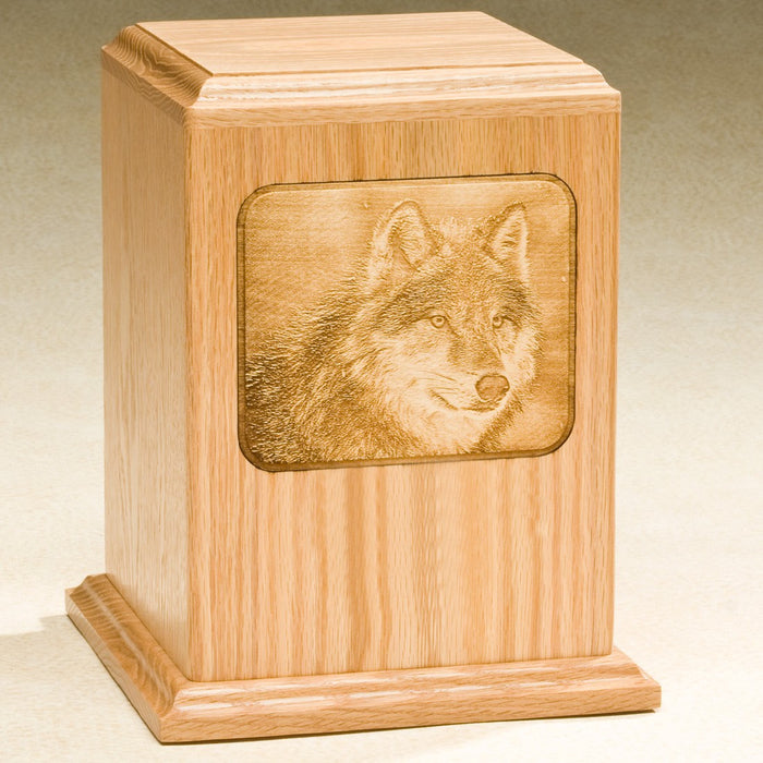 Grayscale Series with Wolf Design Solid Oak Wood 230 cu in Cremation Urn-Cremation Urns-Infinity Urns-Afterlife Essentials