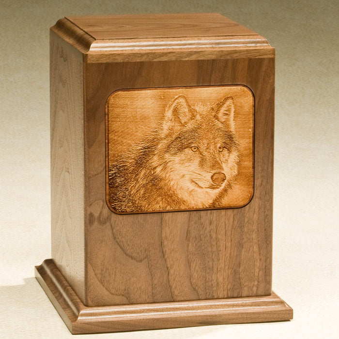 Grayscale Series with Wolf Design Solid Walnut Wood 230 cu in Cremation Urn-Cremation Urns-Infinity Urns-Afterlife Essentials