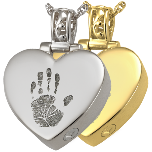 Heart Filigree Bail Handprint Pendant Cremation Jewelry-Jewelry-New Memorials-Afterlife Essentials