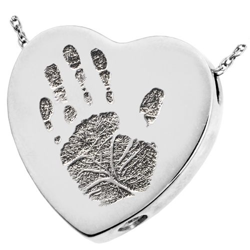 Heart Handprint Pendant Cremation Jewelry-Jewelry-New Memorials-925 Sterling Silver-Chamber (for ashes)-Afterlife Essentials