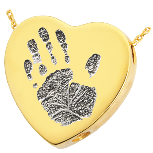 Heart Handprint Pendant Cremation Jewelry-Jewelry-New Memorials-14K Solid Yellow Gold (allow 4-5 weeks)-Chamber (for ashes)-Afterlife Essentials