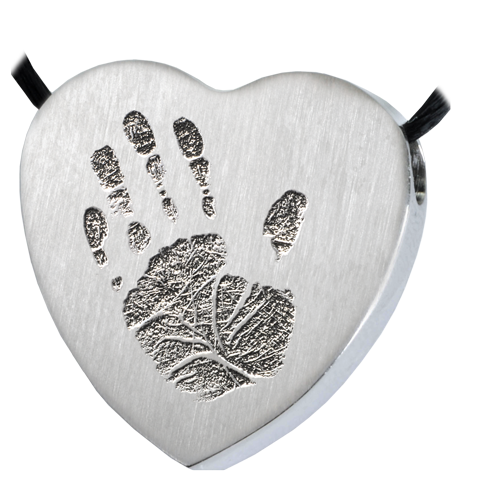 Heart Handprint Pendant Cremation Jewelry-Jewelry-New Memorials-Stainless Steel-No Chamber (flat)-Afterlife Essentials