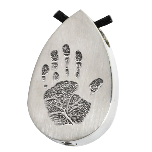 Teardrop Handprint Pendant Cremation Jewelry-Jewelry-New Memorials-Stainless Steel-Chamber (for ashes)-Afterlife Essentials