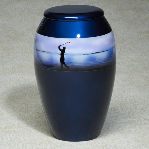 First Tee Hand-Painted Golf Scene Aluminum 200 cu in Cremation Urn-Cremation Urns-Infinity Urns-Afterlife Essentials