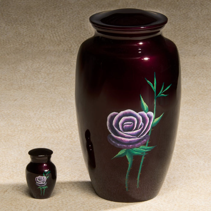 Single Rose Series Red Hand-Painted 200 cu in Cremation Urn-Cremation Urns-Infinity Urns-Afterlife Essentials