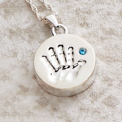 Handprint Pendant with Blue Stone Cremation Jewelry-Jewelry-Infinity Urns-Afterlife Essentials