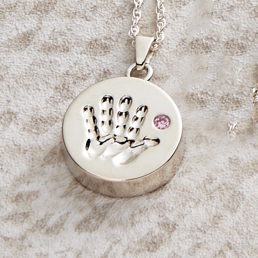 Handprint Pendant with Pink Stone Cremation Jewelry-Jewelry-Infinity Urns-Afterlife Essentials