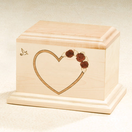 At Home In Our Hearts Red Rose Solid Maple Wood Medium 52 cu in Cremation Urn-Cremation Urns-Infinity Urns-Afterlife Essentials