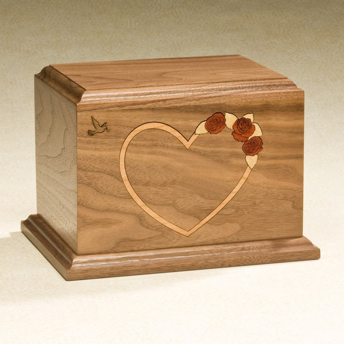 At Home In Our Hearts Red Rose Solid Walnut Wood Medium 52 cu in Cremation Urn-Cremation Urns-Infinity Urns-Afterlife Essentials