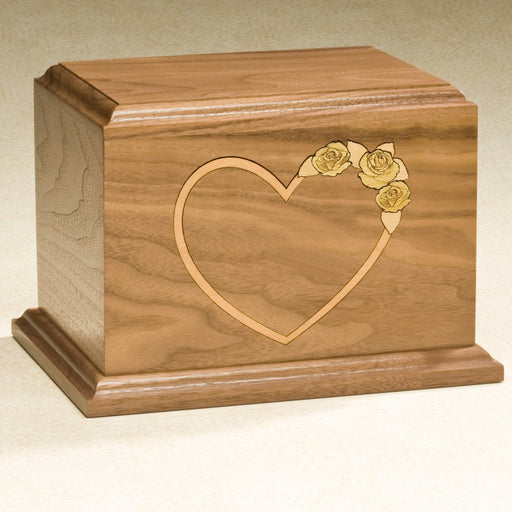 At Home In Our Hearts Series Solid Walnut Wood 200 cu in Cremation Urn-Cremation Urns-Infinity Urns-Afterlife Essentials