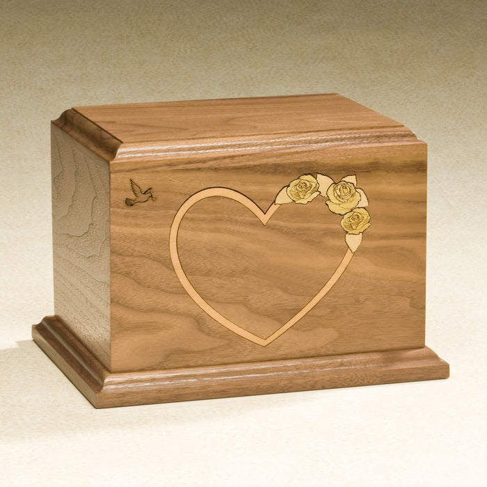 At Home In Our Hearts Yellow Rose Solid Walnut Wood Medium 52 cu in Cremation Urn-Cremation Urns-Infinity Urns-Afterlife Essentials