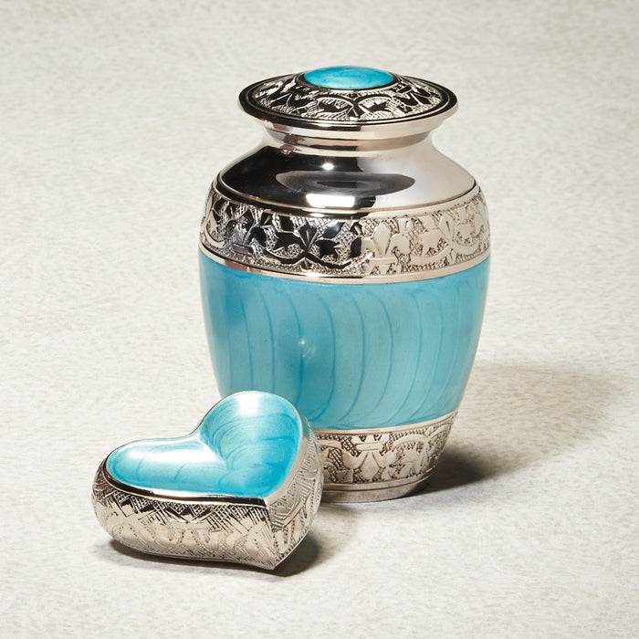Blue Hugs & Kisses Brass 43 cu in Cremation Urn-Cremation Urns-Infinity Urns-Afterlife Essentials
