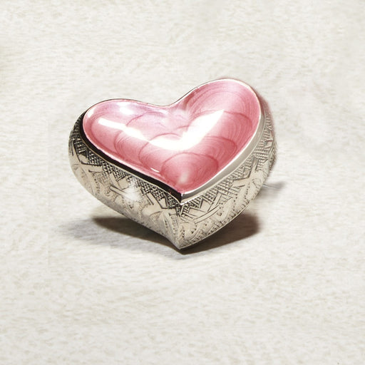 Pink Hugs & Kisses Heart Brass Mini 7 cu in Cremation Urn Keepsake-Cremation Urns-Infinity Urns-Afterlife Essentials