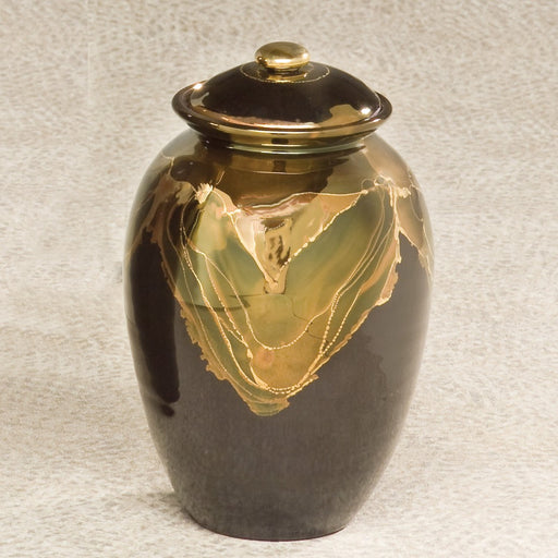 Inspiration Ebony Finish Ceramic Small 45 cu in Cremation Urn-Cremation Urns-Infinity Urns-Afterlife Essentials