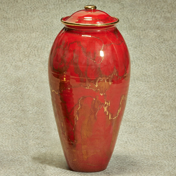 Inspiration Red Finish 230 cu Ceramic Cremation Urn