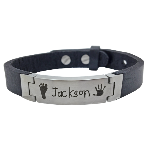 Personalized Stainless Steel Leather Bracelet-Jewelry-New Memorials-Afterlife Essentials