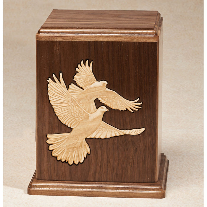 Love Birds Walnut Wood Adult 200 cu in Cremation Urn-Cremation Urns-Infinity Urns-Afterlife Essentials