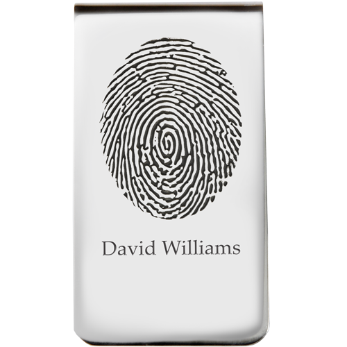 Sterling Silver Money Clip Fingerprint Fingerprint Memorial Jewelry-Jewelry-New Memorials-Afterlife Essentials