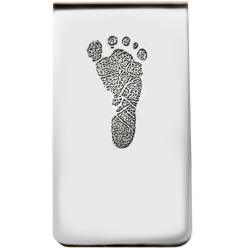 Sterling Silver Money Clip - Footprint Fingerprint Memorial Jewelry - Afterlife Essentials