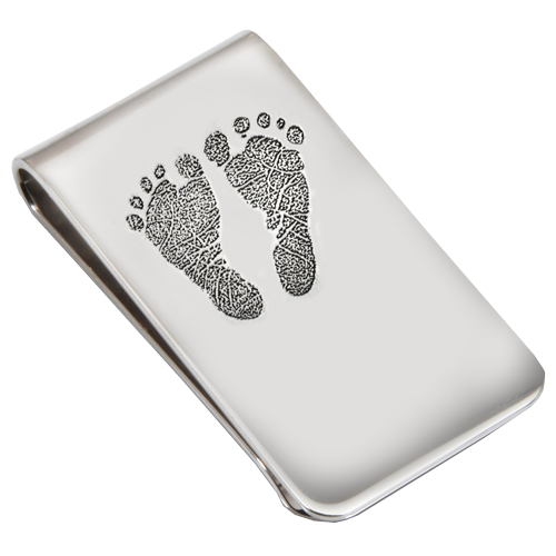 Sterling Silver Money Clip 2 Footprints Fingerprint Memorial Jewelry-Jewelry-New Memorials-Afterlife Essentials