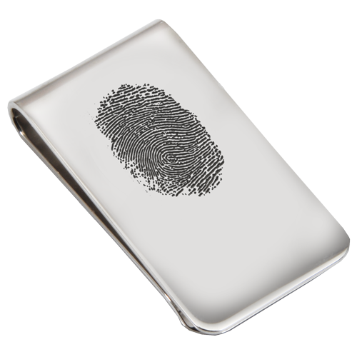 Sterling Silver Money Clip Fingerprint Fingerprint Memorial Jewelry-Jewelry-New Memorials-Organic Fingerprint-Afterlife Essentials