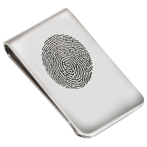Sterling Silver Money Clip Fingerprint Fingerprint Memorial Jewelry-Jewelry-New Memorials-Concise Fingerprint-Afterlife Essentials