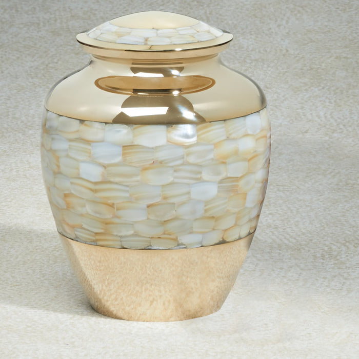 Mother Of Pearl Brass Adult 200 cu in Cremation Urn-Cremation Urns-Infinity Urns-Afterlife Essentials