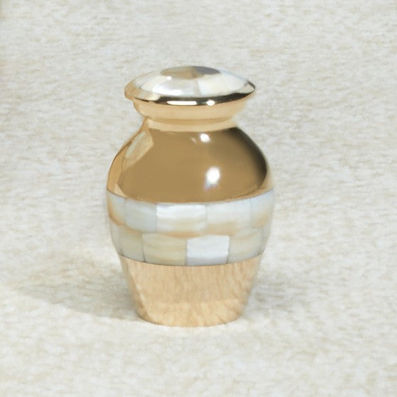 Mother Of Pearl Brass Mini 4 cu in Cremation Urn Keepsake-Cremation Urns-Infinity Urns-Afterlife Essentials