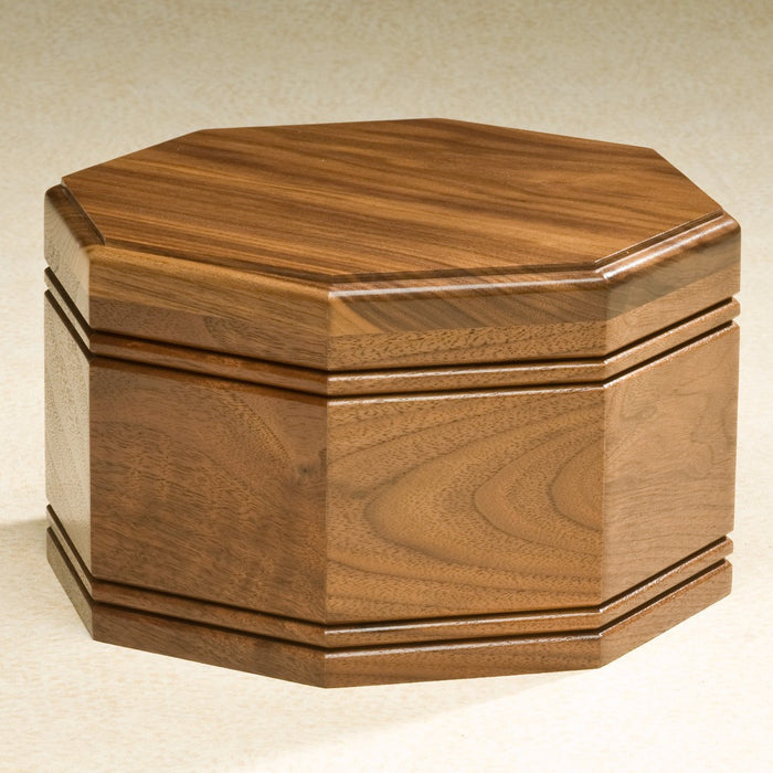 Octagon Solid Walnut Wood Adult 205 cu in Cremation Urn-Cremation Urns-Infinity Urns-Afterlife Essentials