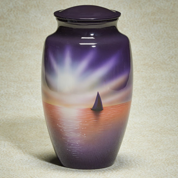 Sailboat Scene Hand-Painted Adult 200 cu in Cremation Urn-Cremation Urns-Infinity Urns-Afterlife Essentials