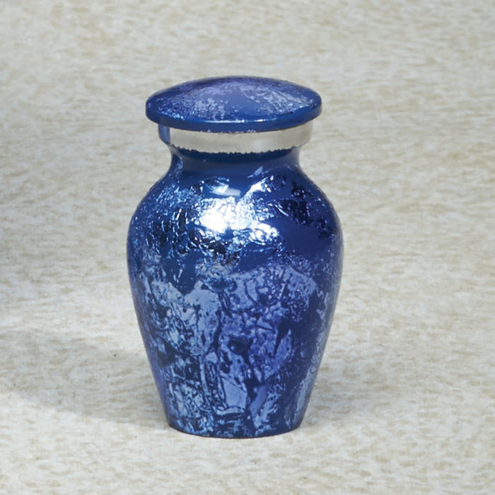 Prismatic Blue Brass Mini 5 cu in Cremation Urn Keepsake-Cremation Urns-Infinity Urns-Afterlife Essentials